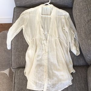 Boho-chick off white 3/4 sleeves flowy top